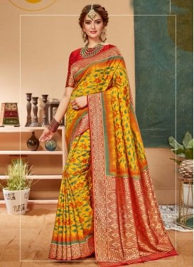 Woven Work Mustard and Red Designer Traditional Saree