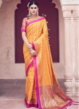 Woven Work Mustard and Rose Pink Classic Saree