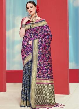 Woven Work Navy Blue and Purple Half N Half Trendy Saree