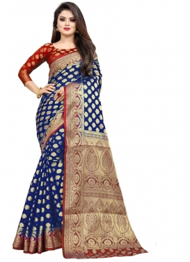 Woven Work Navy Blue and Red Designer Contemporary Saree