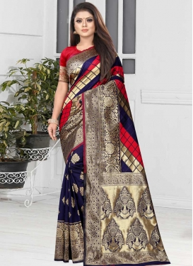 Woven Work Navy Blue and Red Traditional Designer Saree