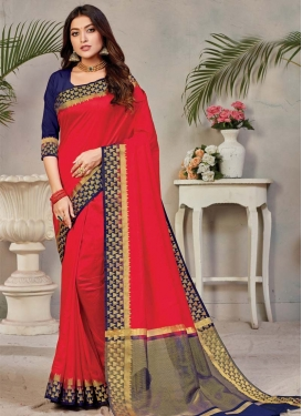 Woven Work Navy Blue and Red Trendy Classic Saree