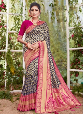 Woven Work Navy Blue and Rose Pink Contemporary Style Saree