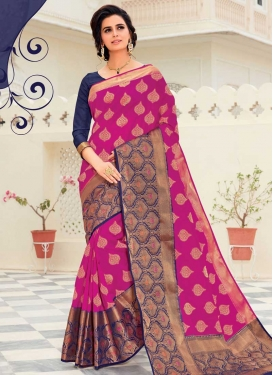 Woven Work Navy Blue and Rose Pink Designer Contemporary Saree