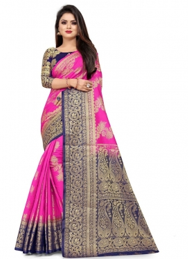Woven Work Navy Blue and Rose Pink Trendy Classic Saree