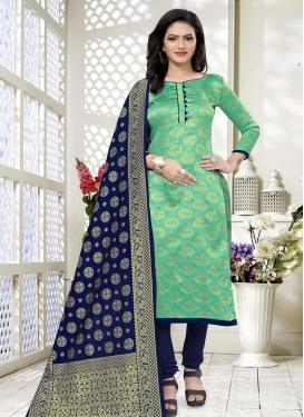 Woven Work Navy Blue and Sea Green Art Silk Trendy Straight Salwar Suit