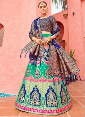 Woven Work Navy Blue and Sea Green Designer Lehenga Choli