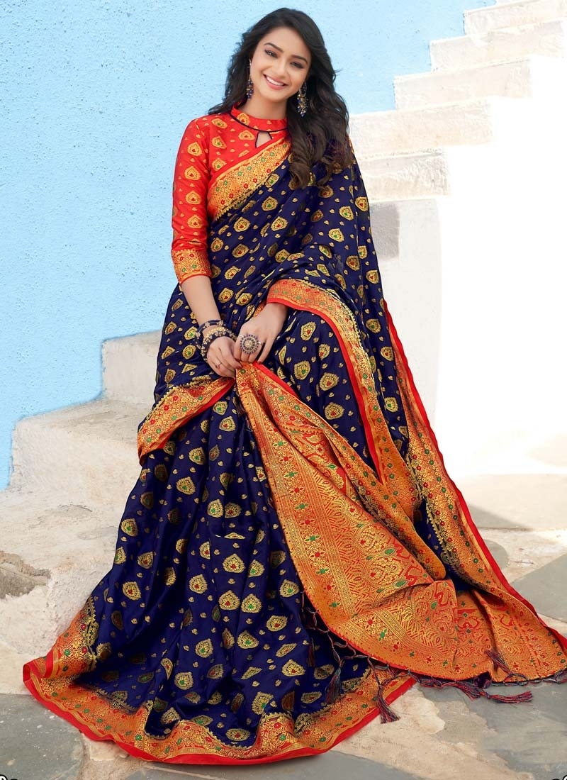 Woven Work Navy Blue and Tomato Designer Traditional Saree