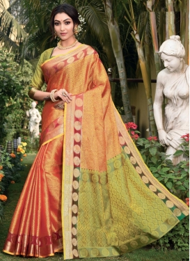 Woven Work Olive and Orange Trendy Classic Saree