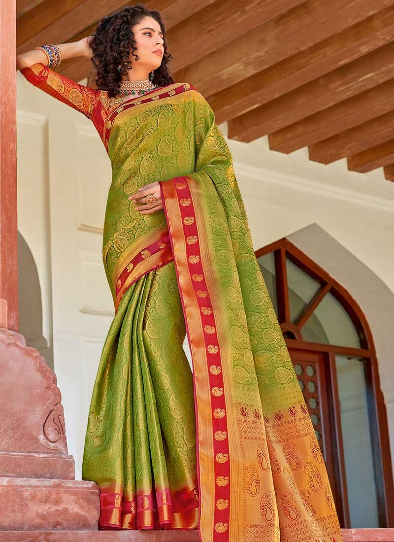 Woven Work Olive and Red Designer Contemporary Saree