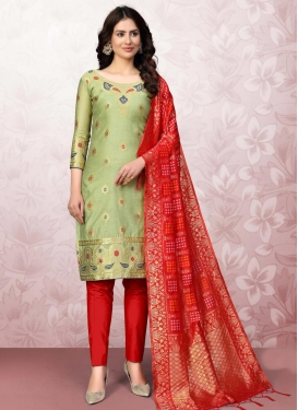 Woven Work Olive and Red Pant Style Classic Salwar Suit