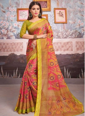 Woven Work Olive and Rose Pink Traditional Designer Saree