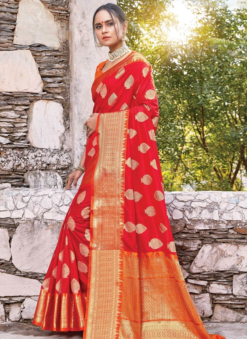 Woven Work Orange and Red Contemporary Style Saree