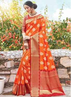Woven Work Orange and Red Designer Contemporary Saree