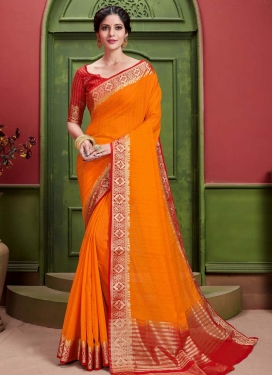 Woven Work Orange and Red Designer Contemporary Style Saree