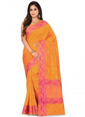 Woven Work Orange and Rose Pink Designer Contemporary Saree