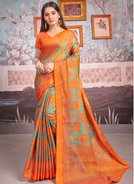 Woven Work Orange and Sea Green Designer Contemporary Style Saree