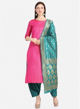 Woven Work Pakistani Straight Salwar Kameez
