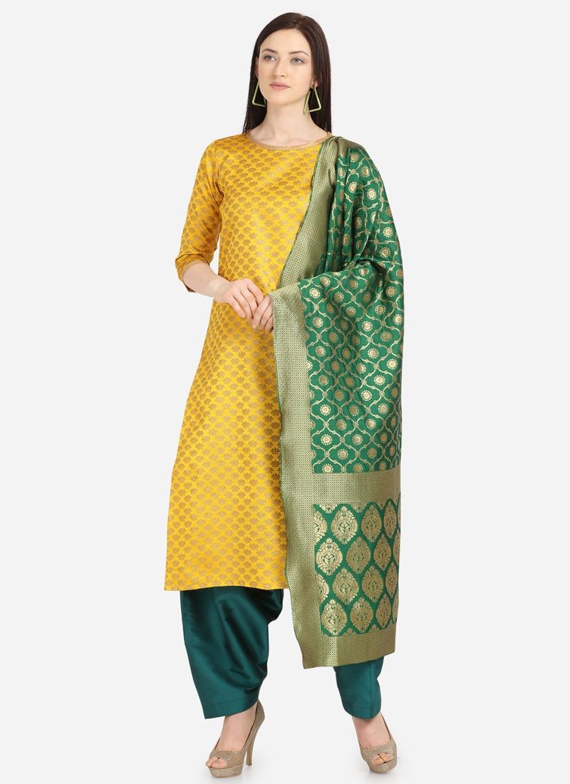 Woven Work Pakistani Straight Salwar Suit