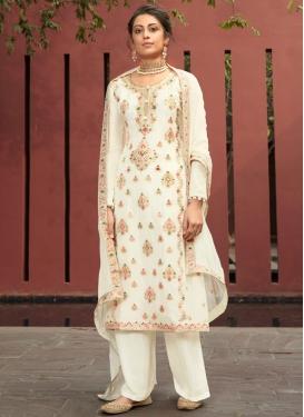 Woven Work Palazzo Style Pakistani Salwar Suit