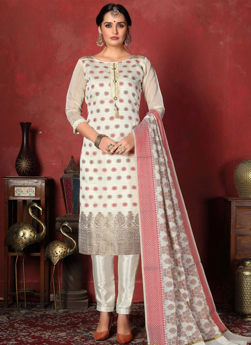 Woven Work Pant Style Classic Salwar Suit