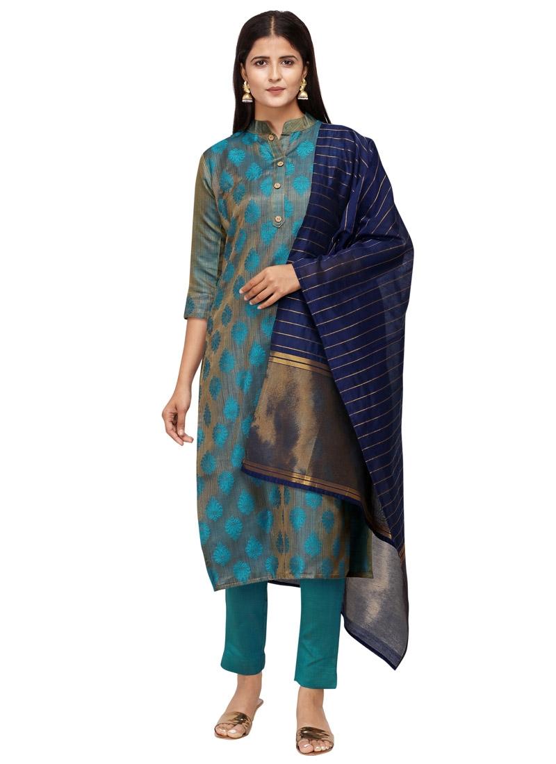 Woven Work Pant Style Pakistani Suit