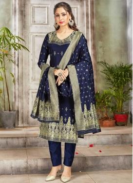 Woven Work Pant Style Salwar Kameez