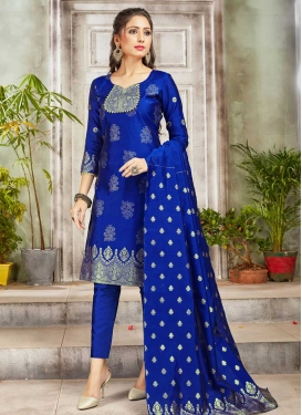 Woven Work Pant Style Salwar Suit