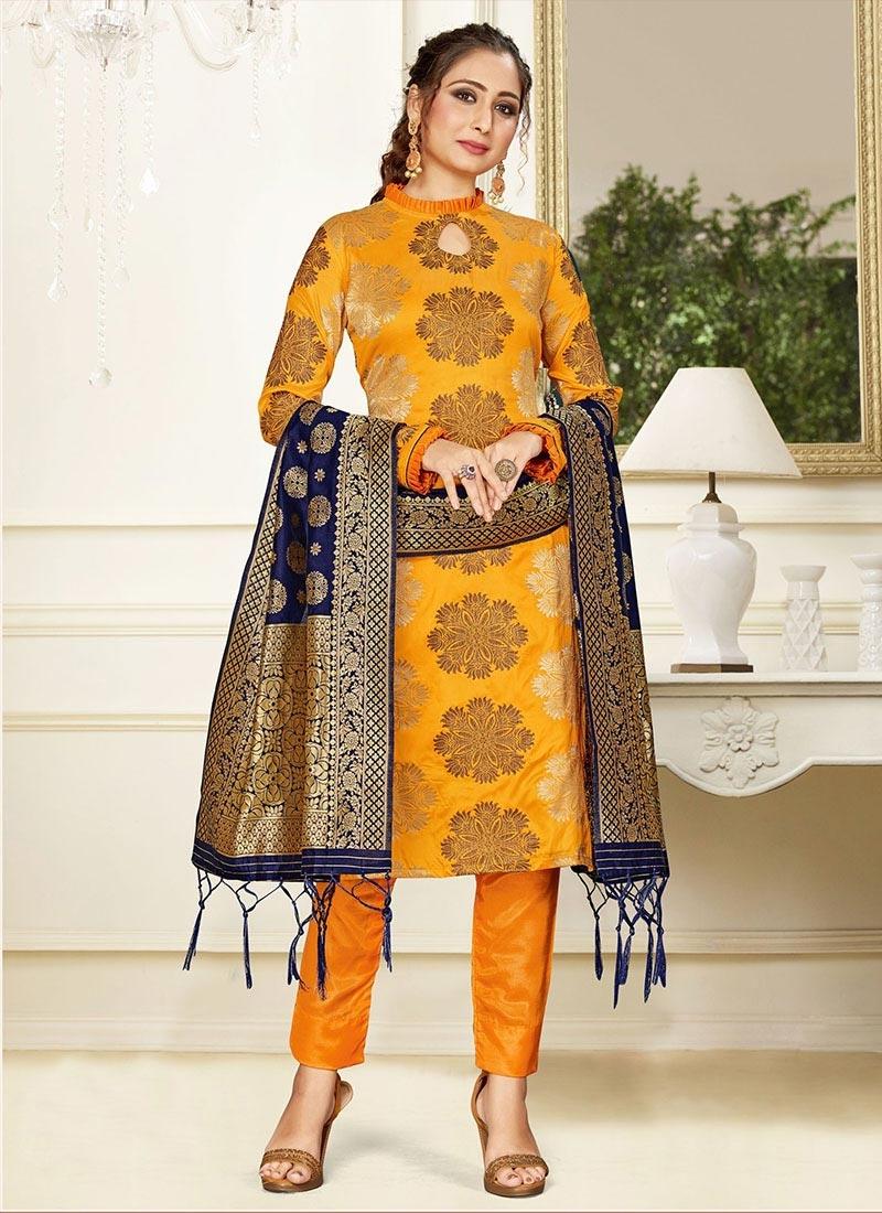 Woven Work Pant Style Straight Salwar Kameez