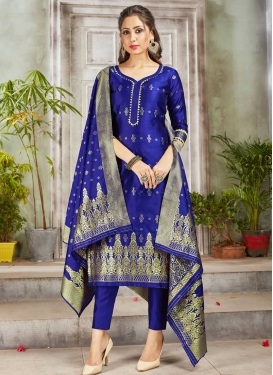 Woven Work Pant Style Straight Salwar Kameez