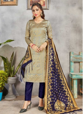 Woven Work Pant Style Straight Salwar Suit