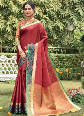 Woven Work Peach and Red Traditional Designer Saree