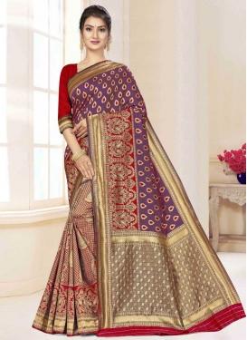 Woven Work Purple and Red Half N Half Designer Saree
