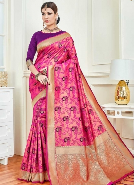 Woven Work Purple and Rose Pink Designer Contemporary Saree
