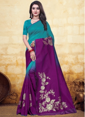 Woven Work Purple and Teal Designer Contemporary Saree