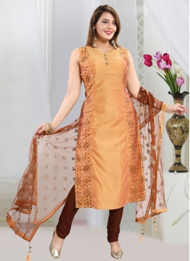Woven Work Readymade Churidar Salwar Kameez For Ceremonial