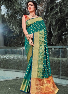 Woven Work Red and Teal Traditional Designer Saree