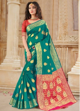 Woven Work Rose Pink and Teal Designer Contemporary Style Saree