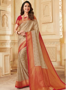 Woven Work Silk Beige and Red Designer Contemporary Style Saree