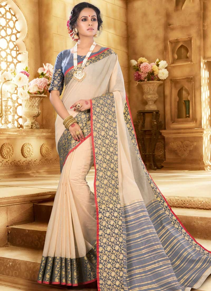 Woven Work Traditional Designer Saree For Casual