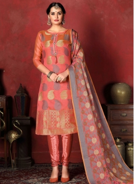 Woven Work Trendy Churidar Salwar Kameez