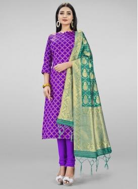 Woven Work Trendy Churidar Salwar Kameez
