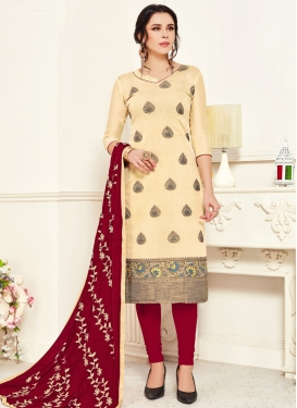 Woven Work Trendy Churidar Salwar Suit For Casual