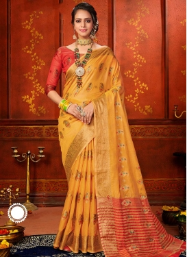 Woven Work Trendy Classic Saree For Casual