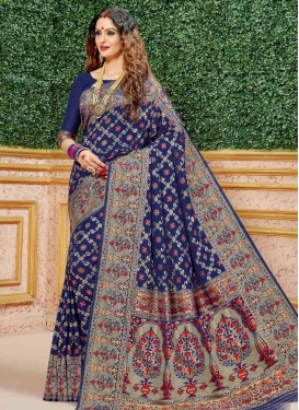 Woven Work Trendy Classic Saree For Festival