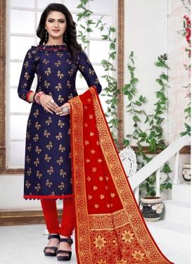 Woven Work Trendy Straight Salwar Kameez