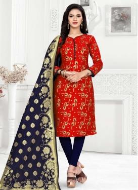 Woven Work Trendy Straight Salwar Suit