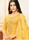 Yellow Art Silk Festival Designer Palazzo Suit - 1