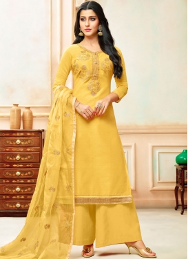 Yellow Art Silk Festival Designer Palazzo Suit
