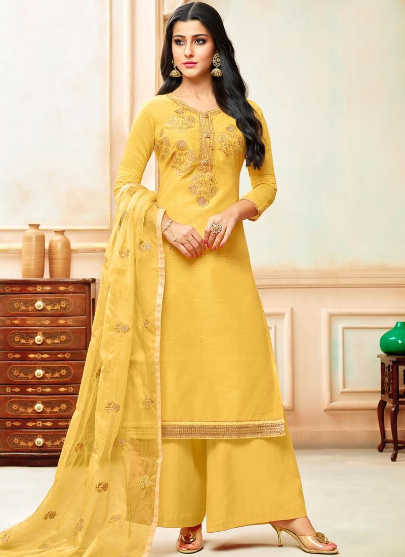 Yellow Art Silk Festival Designer Palazzo Suit